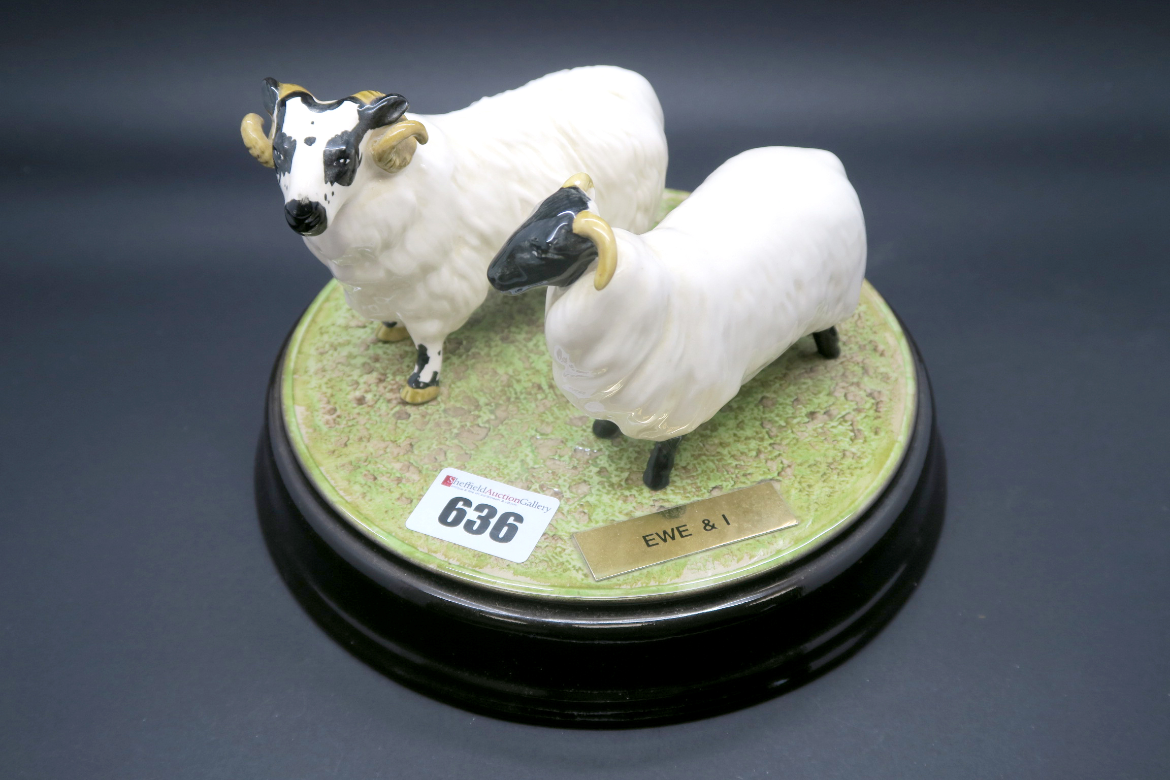 """Lot 636 - Beswick Pottery """"Ewe and I"""", on a circular tableau base, impressed and printed marks. (3)"""