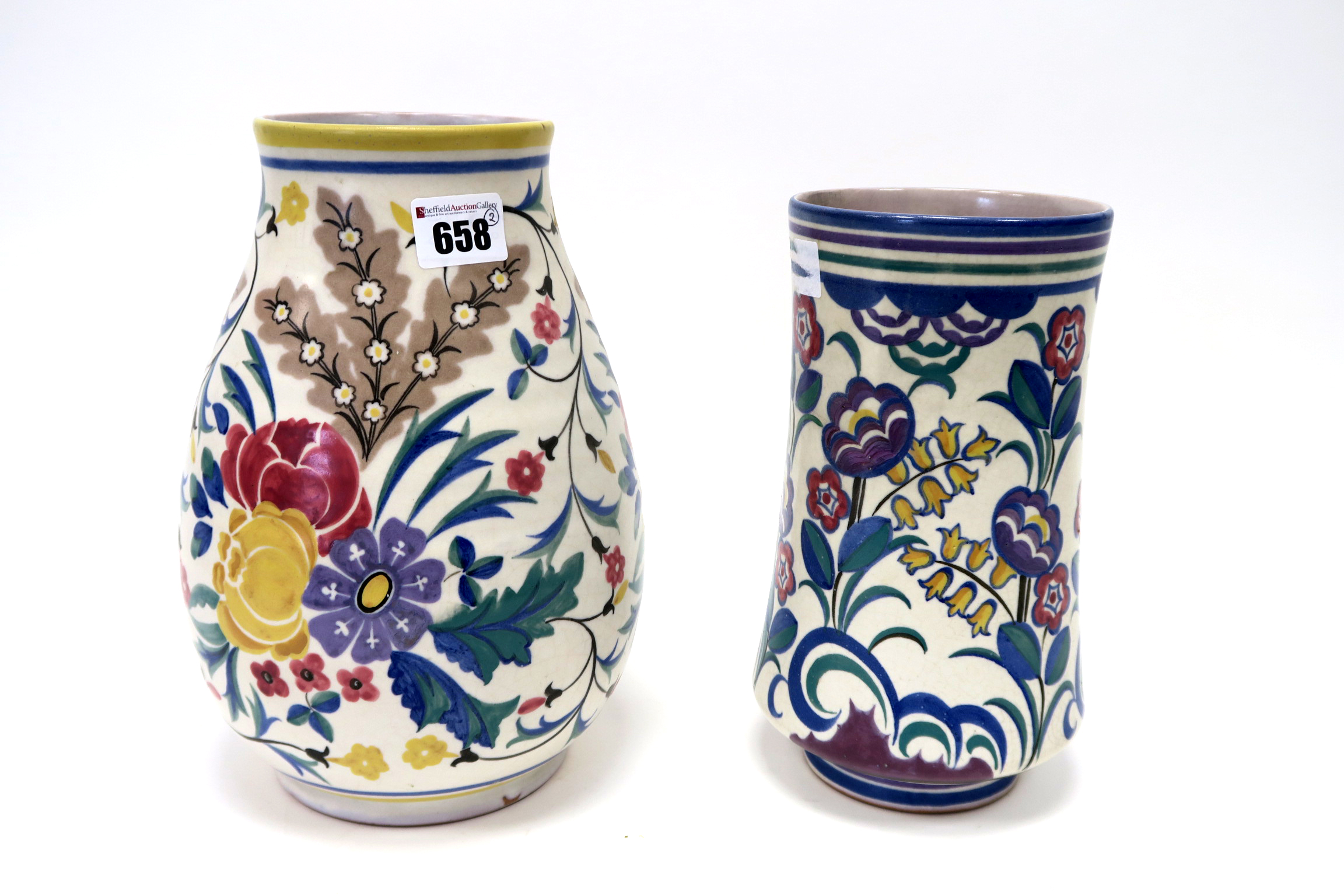 Lot 658 - A Carter, Stabler and Adams Poole Pottery Red Earthenware Vase, of baluster form, painted with pink,
