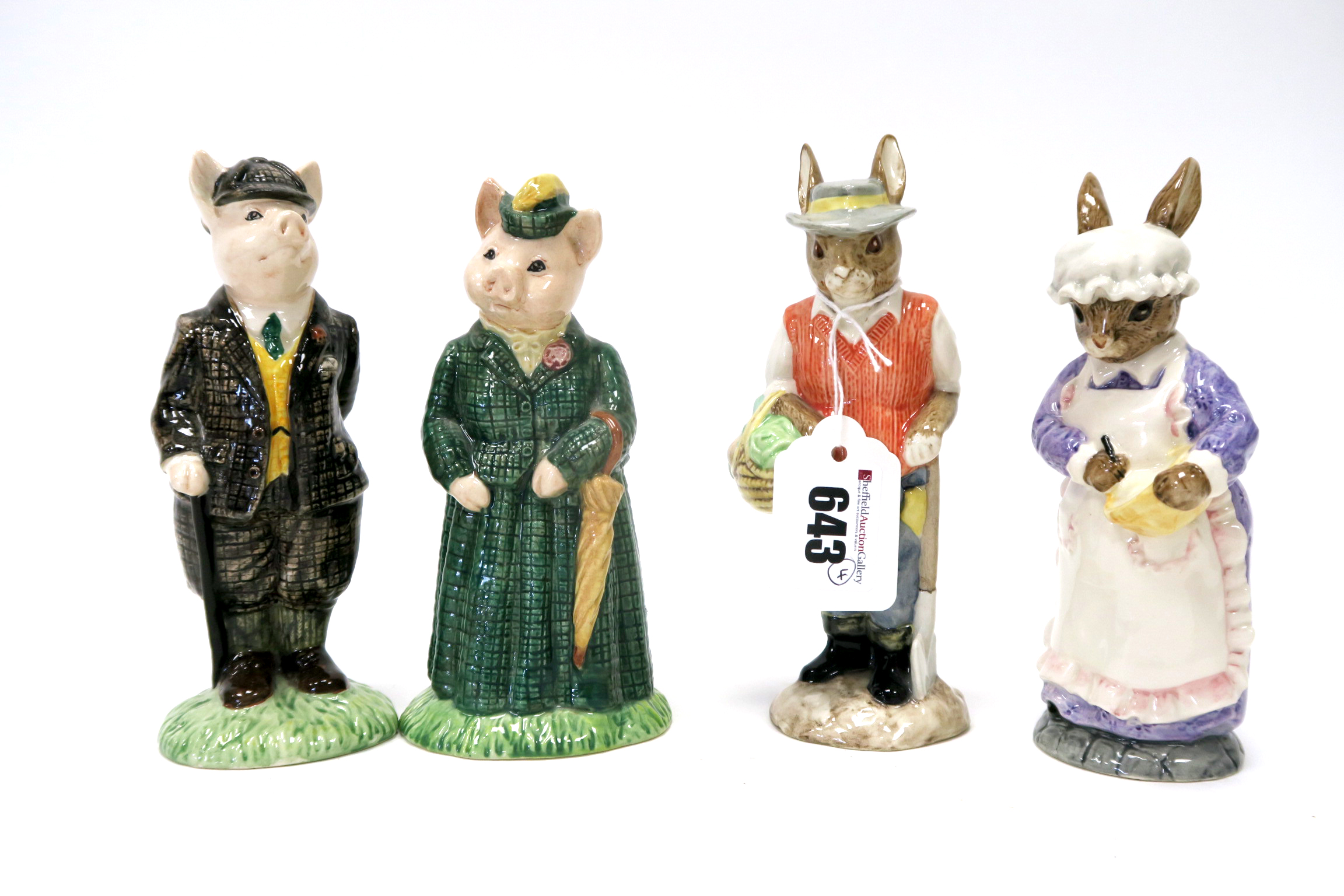 Lot 643 - Four Beswick Pottery English Country Folk Figures, Gardener Rabbit, Rabbit Baking, Gentleman Pig and