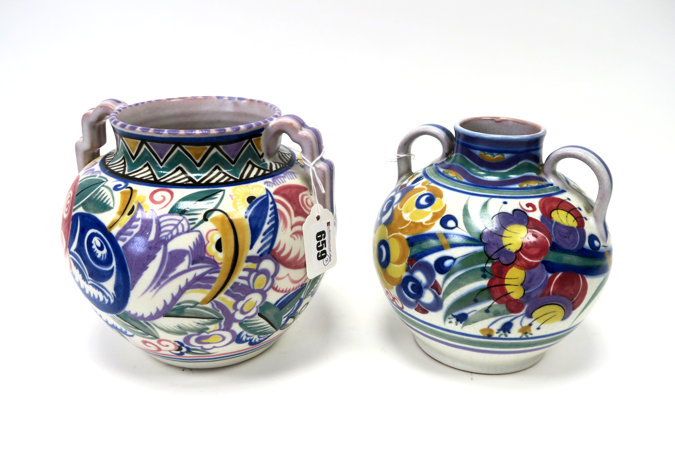 Lot 659 - A Carter, Stabler and Adams Poole Pottery Red Earthenware Two Handled Vase, of ovoid form, painted
