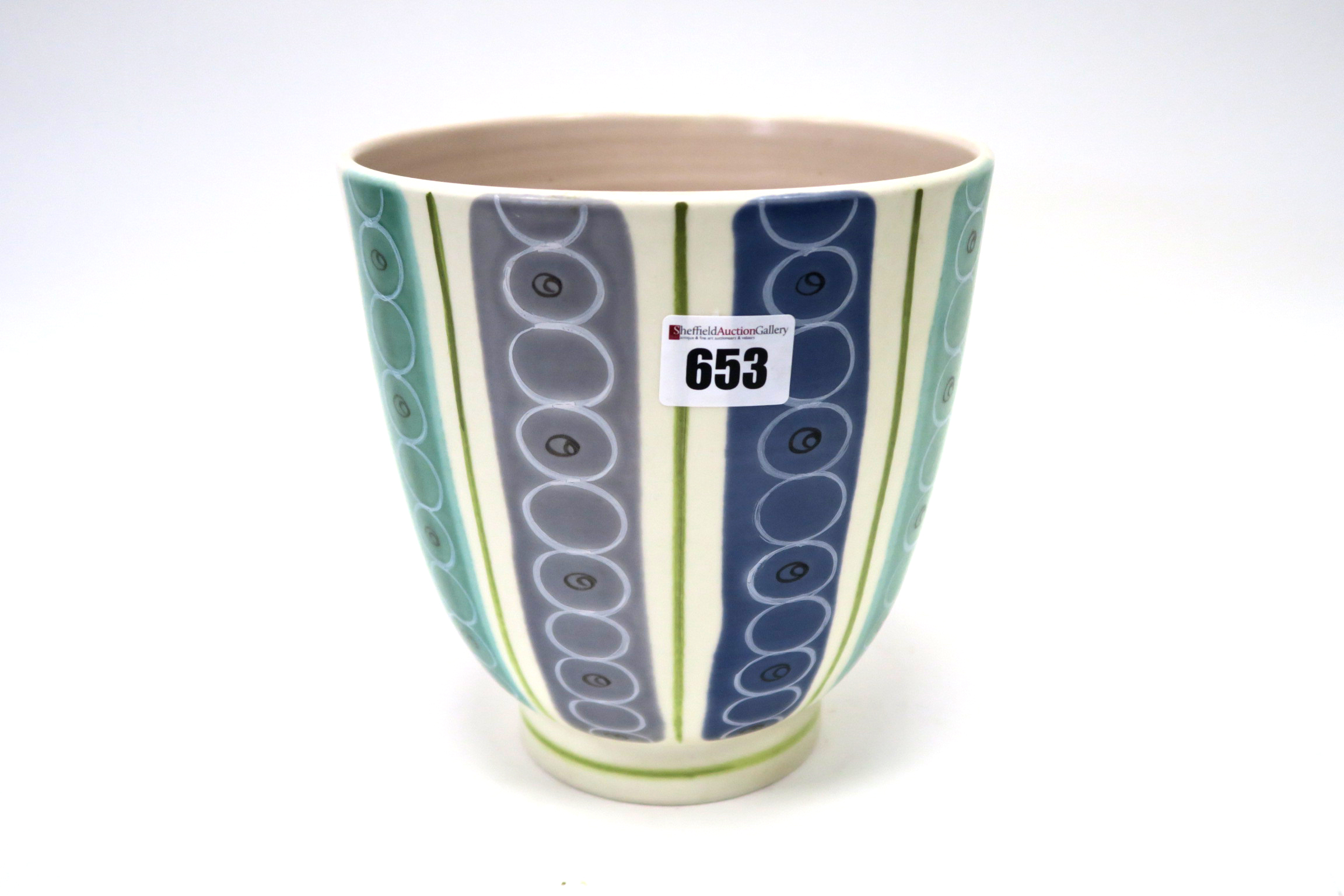 Lot 653 - A Poole White Earthenware Freeform Vase, of 'U' shape, painted with vertical bands of circles in