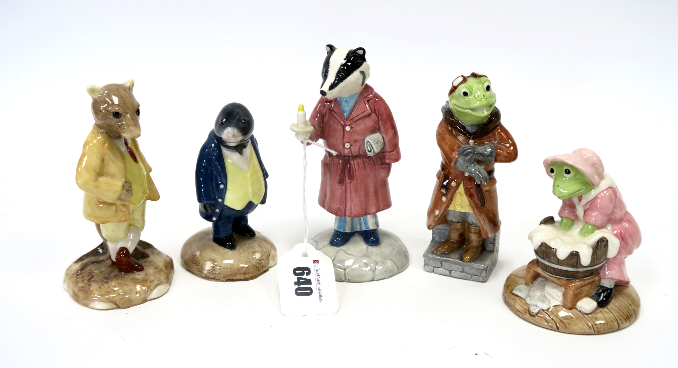 Lot 640 - Five Beswick Pottery Limited Edition Wind in the Willows Figures, Washerwoman Toad, Ratty, Toad,