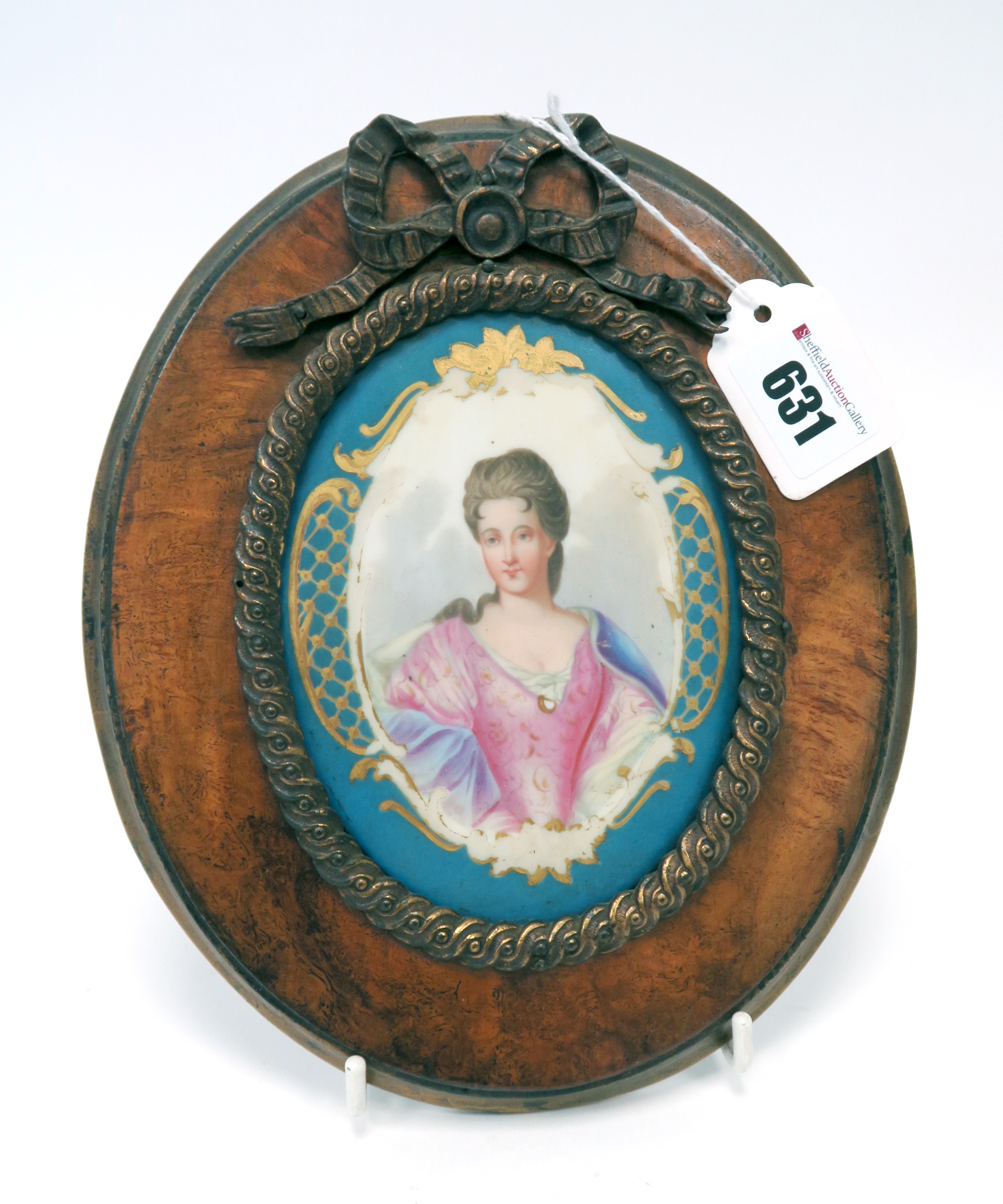 Lot 631 - A Late XIX Century French Sévres Style Porcelain Plaque, of oval form, painted with a portrait of