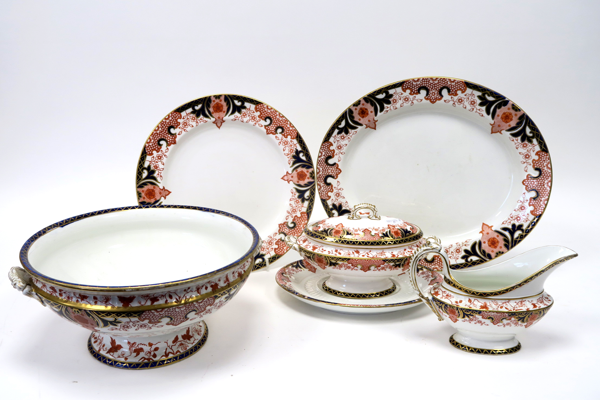 Lot 628 - A Late XIX Century Derby Porcelain Part Dinner Service, decorated in Imari pattern 2151 with flowers