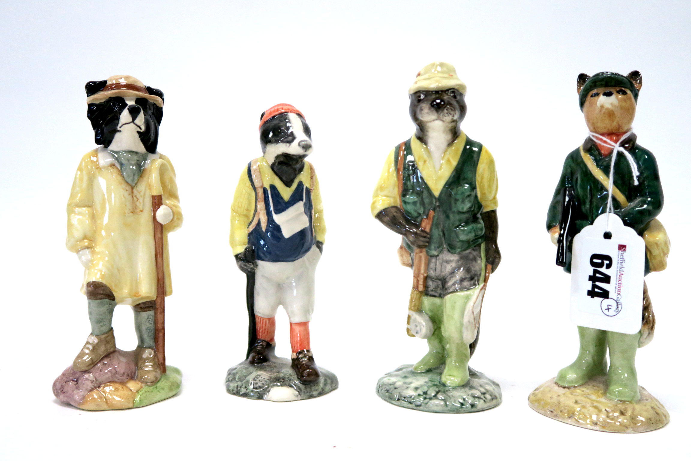 Lot 644 - Four Beswick Pottery English Country Folk Figures, Fisherman Otter, Hiker Badger, Huntsman Fox and