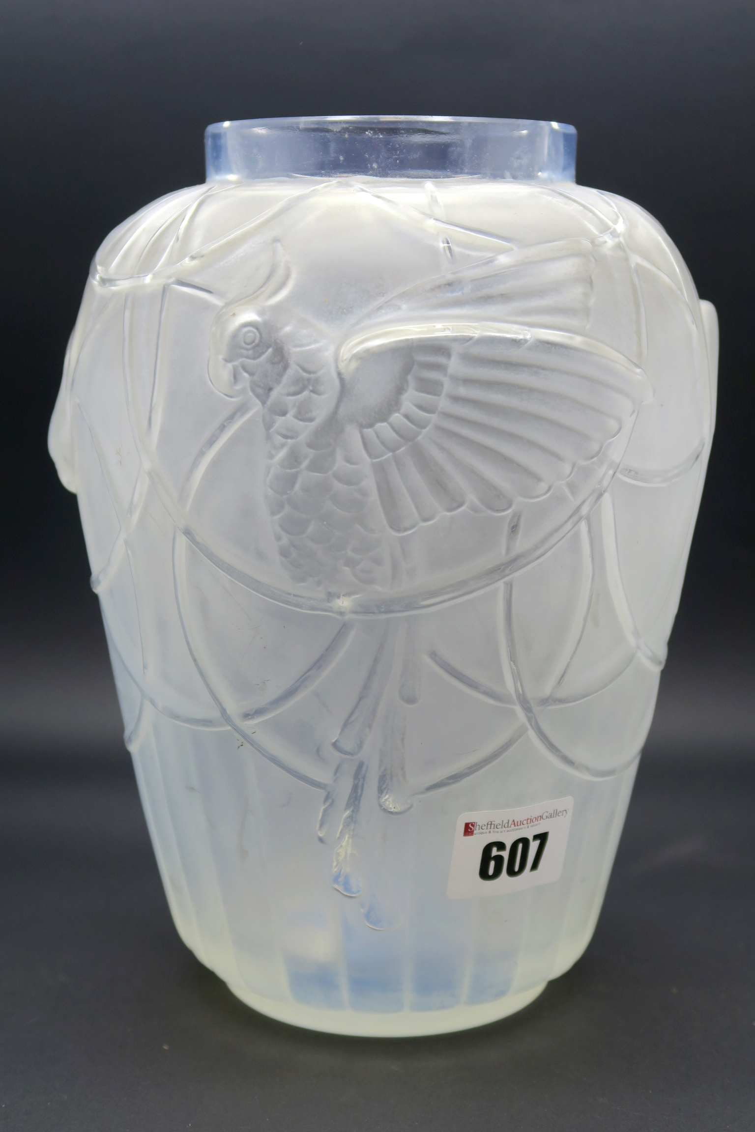 Lot 607 - A 1930's Sabino Frosted Glass Vase, of ovoid form, moulded with stylised budgerigars perched on