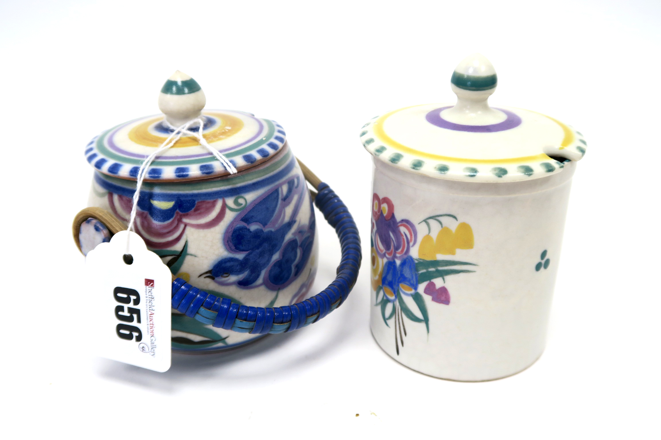 Lot 656 - A Carter, Stabler and Adams Poole Pottery Red Earthenware Jam Pot and Cover, painted in the 'Blue