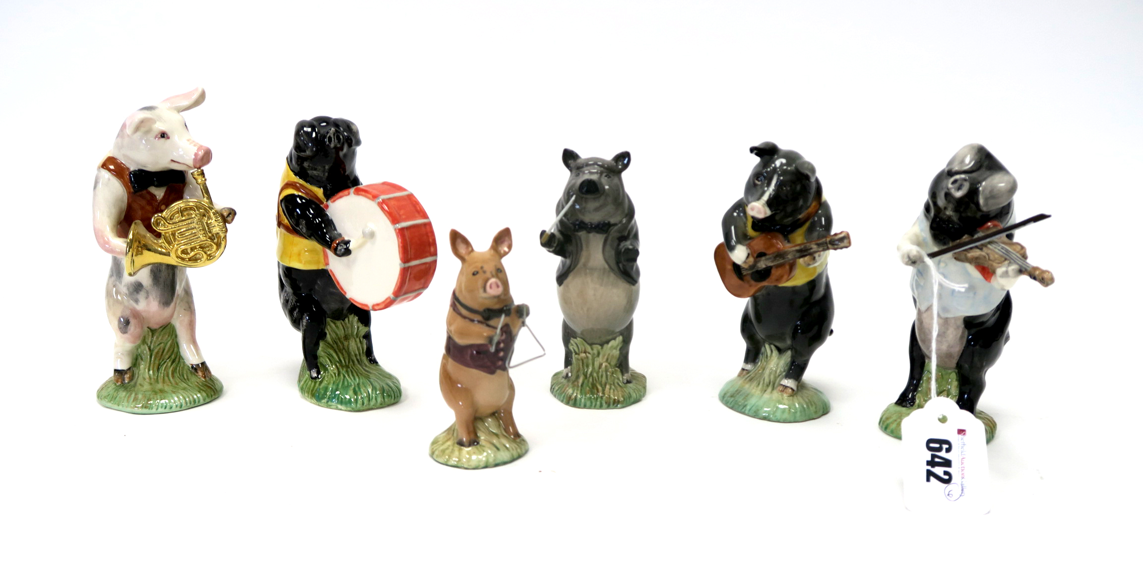 Lot 642 - Six Beswick Pottery Promenade Pig Band Figures, Michael, John, Richard, Christopher, Daniel and