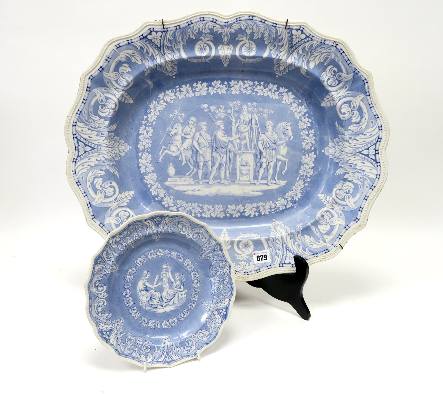 Lot 629 - An Elkin Knight & Co. Pottery Meat Dish, of shaped oval form decorated in blue with the 'Etruscan'