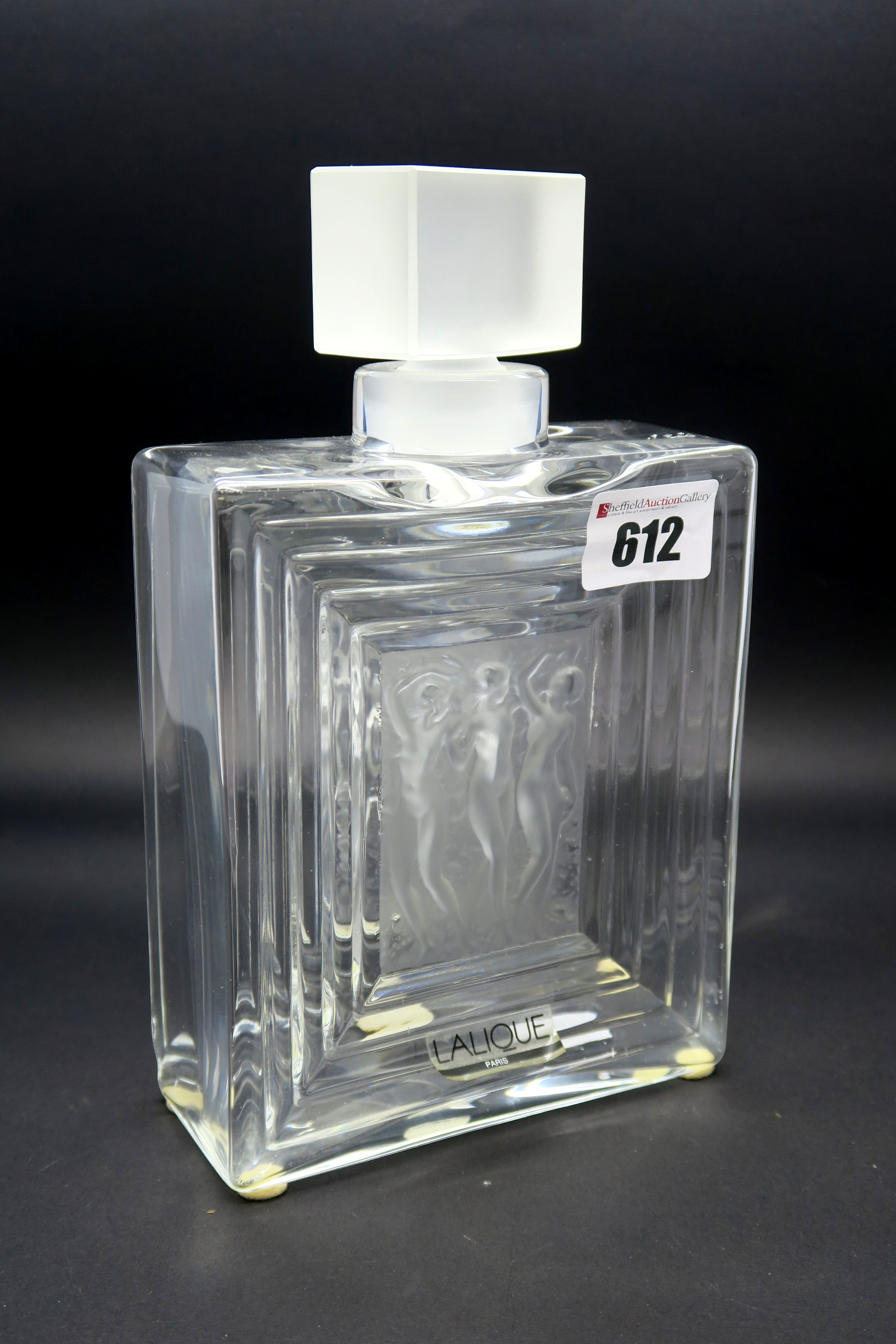 Lot 612 - A Lalique Glass Scent Bottle and Stopper, modelled in the 'Duncan' design, of ribbed, rectangular