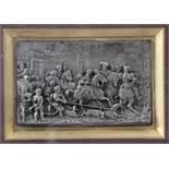 Reliefbild im Renaissancestil.Reiche Figurendarstellung, hinter Glas. Dazu Reliefbild und Rah
