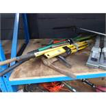 Bundle of assorted tools inc. bolt croppers, pick-axes, Fiskers weeder, edgers etc