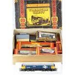 Hornby OO gauge Treasure Chest box containing boxed R249 Hopper Wagon, R126 Transporter, R633