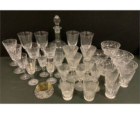 Crystal and other glassware - a set of four Waterford crystal Lismore pattern wine glasses, five aperitif glasses;  others Ei