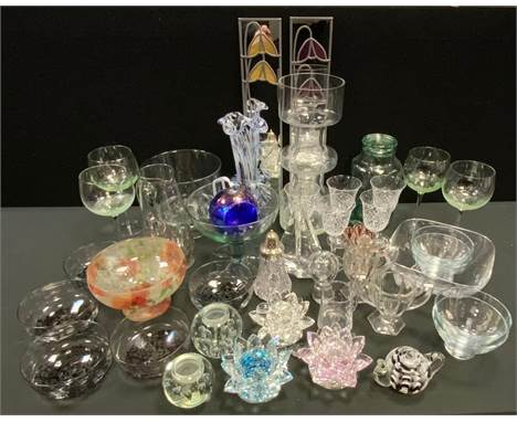 Glassware - a blown air glass paperweight, others; Dartington crystal vase, Galway crystal sailing boat, stemware, fruit bowl