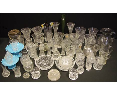 Victorian & Later Glass - a graduated pair of powder blue pressed glass comports, assorted cut glass vases, oil bottle, F