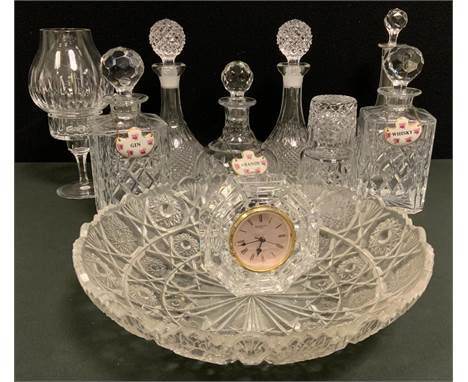 Glassware - a Stuart Crystal cut glass decanter and stopper;  others , large bowl, Waterford clock, etc