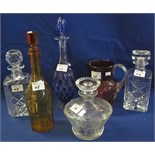 Lot 48 - Group of assorted glassware to include two similar cut lead crystal square section spirit decanters
