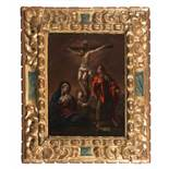 "17th century Spanish School.""The Crucifixion""Oil on panel. Signed incomplete ""FR ZO"". With a"