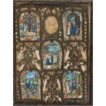 Hispanic-Flemish School. Gothic. 15th century.Reliquary and set of five miniatures in tempera and