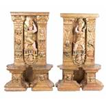 Pair of sections from an altarpiece made of carved, gilded and polychromed wood. Castilian School.