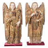 """Angels"". Pair of carved, gilded and polychromed wooden sculptures. Burgos. Gothic. 15th century.<b"