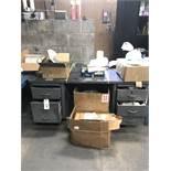 {LOT} 2 Door Storage Cabinet, (4) Desks, & File Cabinet