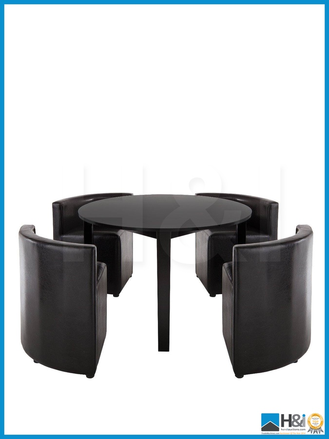 New In Box HIDEAWAY DINING TABLE AND 4 CHAIRS SET BLACK BLACK DIMENSIONS TABL