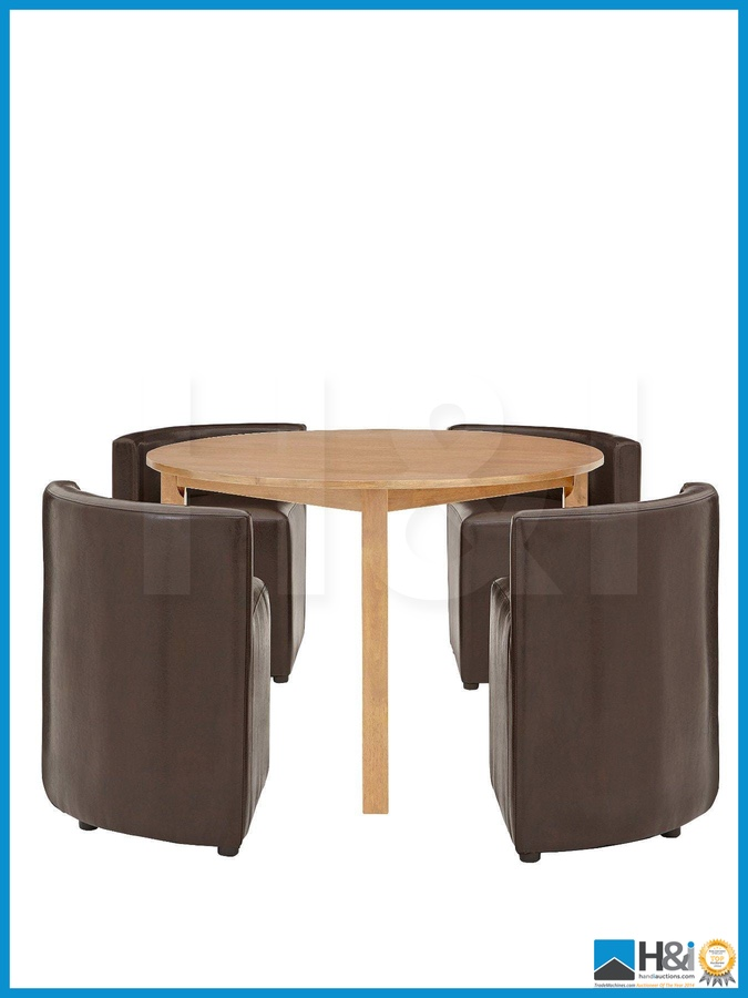 New In Box HIDEAWAY DINING TABLE AND 4 CHAIRS SET BROWN  : original from www.i-bidder.com size 675 x 900 jpeg 86kB