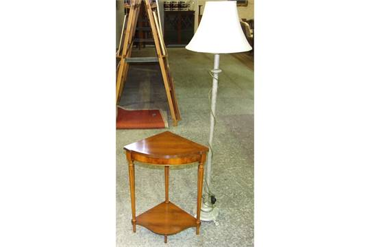 Reproduction yew wood inlaid corner lamp table plus reeded column reproduction yew wood inlaid corner lamp table plus reeded column standard lamp 3040 aloadofball Image collections