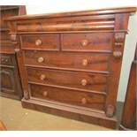 A Victorian mahogany chest, the rectangular top above a frieze drawer,