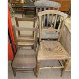 Two children's chairs together with a kitchen chair and a bedroom chair