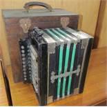 A concertina squeeze box of rectangular form,