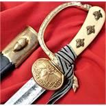 WW2 German Senior Forrestry Dagger Hirschfanger, scabbard & Knot by Carl Eickhorn of Solingen