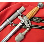 Near-mint cond. WW2 German/Luftwaffe 2nd ptn dagger/scabbard/knot/hangers-Carl Eickhorn of Solingen