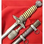 WW2 German/Luftwaffe 2nd pattern dagger, scabbard & knot by Alcosa of Solingen