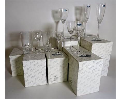 Waterford Crystal; modern, mostly boxed, including champagne flutes, port glasses, ships decanters and sundry, (qty).  Condit