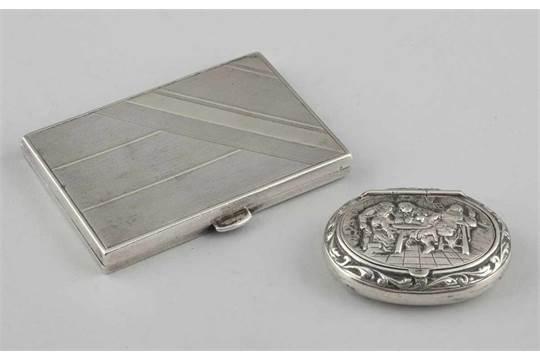 1 Zigarettenetui 1 Pillendose800925er Silber Punzen