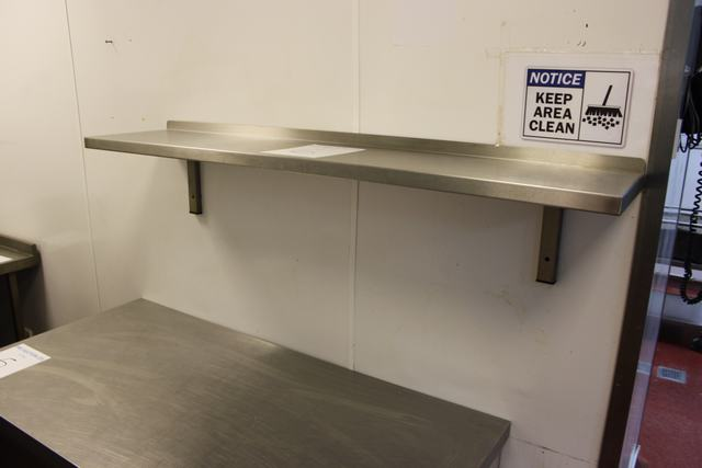 Lot 6 - Stainless steel wall mounted shelf 1400mm x 300mm  Lift out charge  5