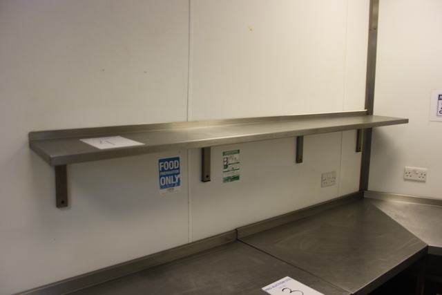 Lot 4 - Stainless steel wall shelf 2200mm x 300mm  Lift out charge  10