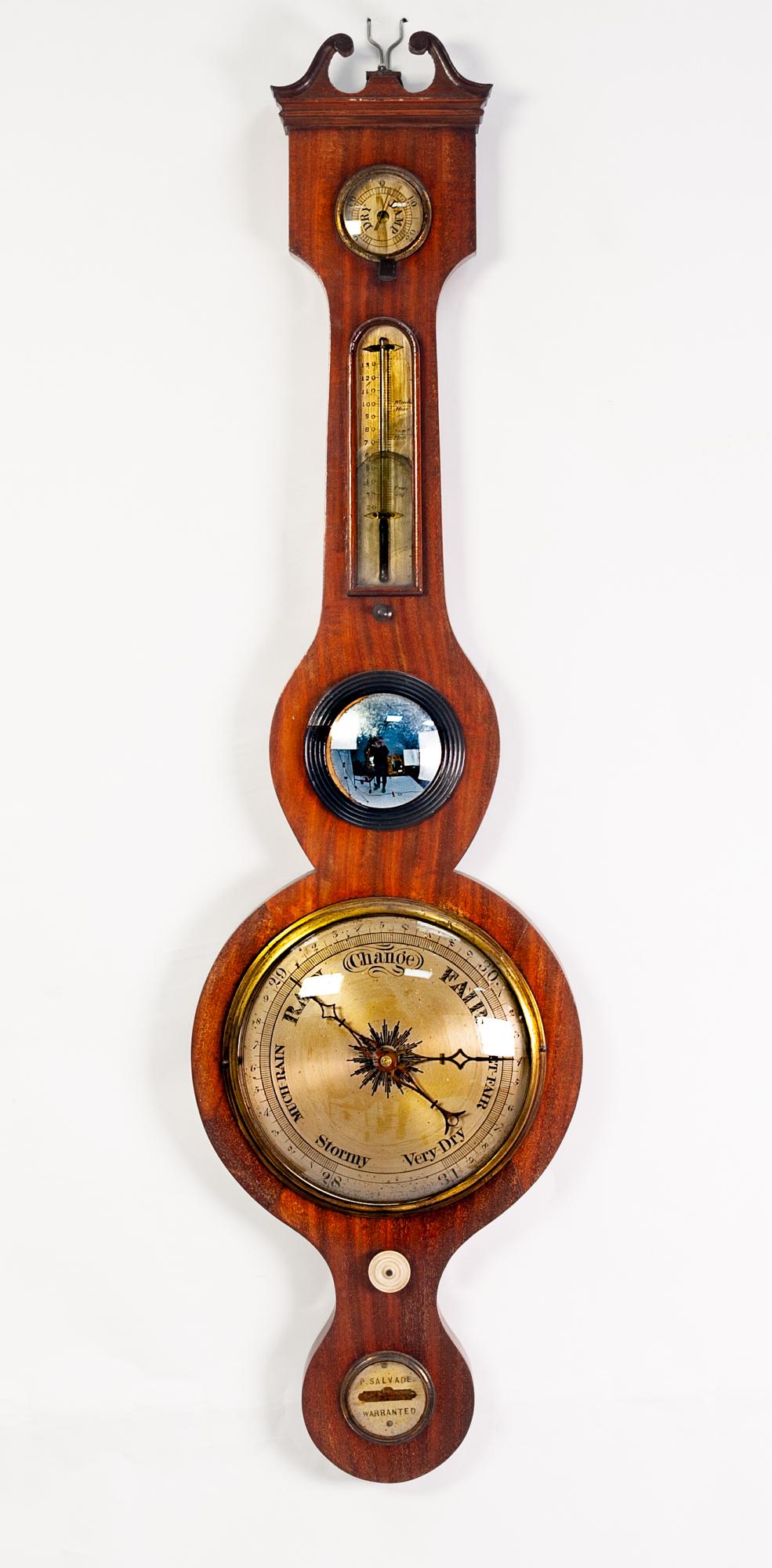 Lot 74 - A NINETEENTH CENTURY MAHOGANY CASED BANJO WHEEL MERCURY TABLE BAROMETER by P. Salvade, with