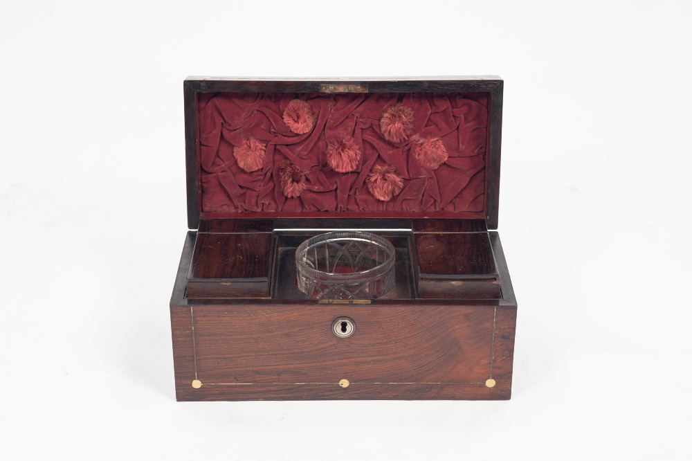 Lot 87 - REGENCY ROSEWOOD AND MOTHER OF PEARL INLAID TEA CADDY, of oblong form, inlaid with dot and