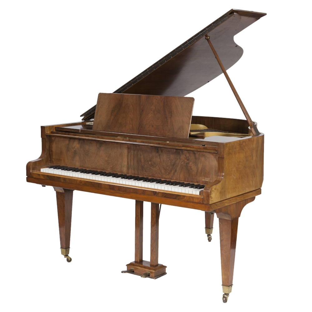 Lot 199 - 1940's FIGURED WALNUT CASED 'WELMAR' BABY GRAND PIANO, of typical form with square, tapering legs,