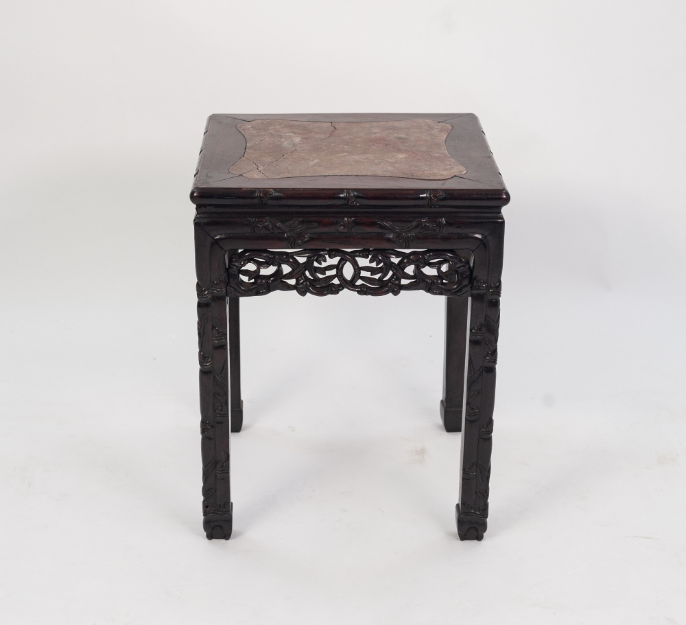 Lot 176 - LATE 19th CENTURY CHINESE HARDWOOD LOW STAND with marble inset top, carved simulated bamboo apron