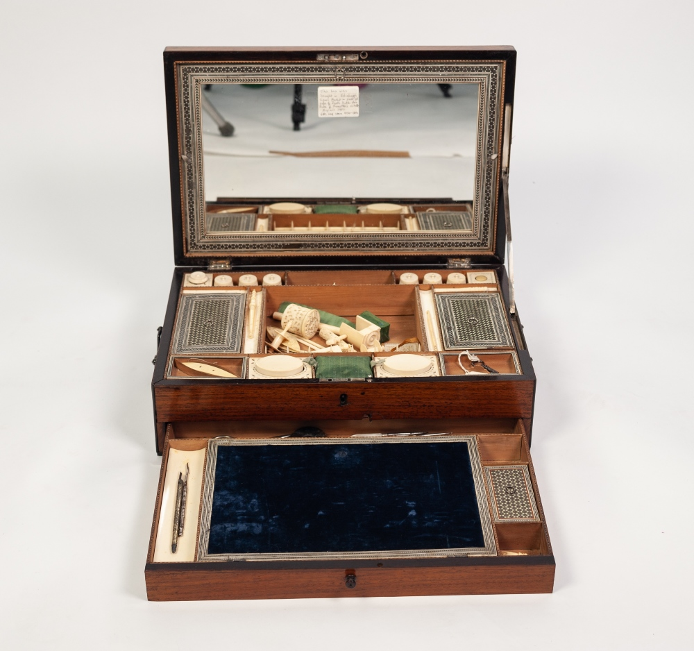 Lot 83 - A GOOD FIRST HALF NINETEENTH CENTURY ANGLO/INDIAN ROSEWOOD AND EBONY EDGED, SANDALWOOD LINED LADY'
