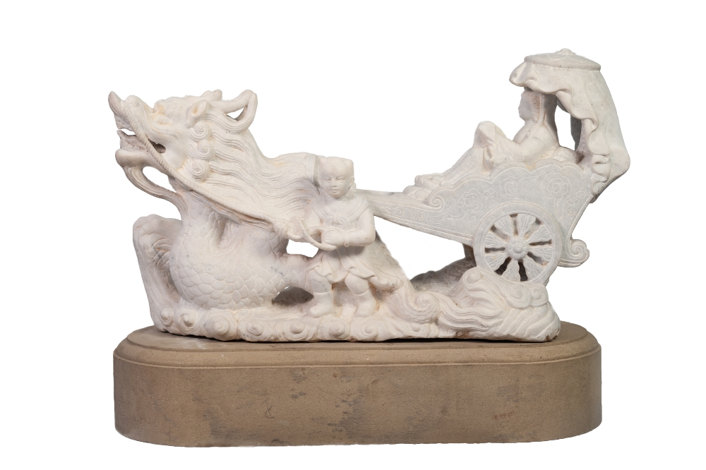 Lot 94 - IMPRESSIVE MODERN CHINESE CARVED WHITE VEINED MARBLE GROUP, modelled as a female figure in a