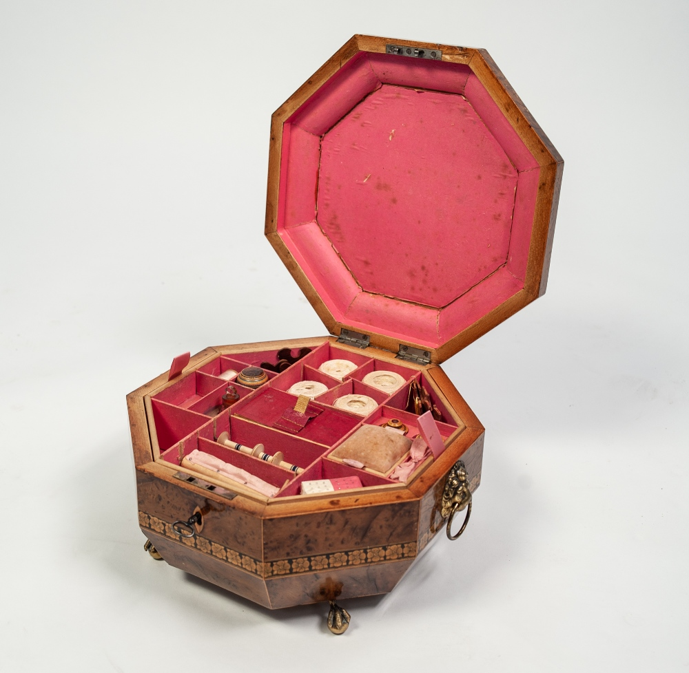 Lot 85 - REGENCY LINE INLAID AND PENWORK DECORATED BURRWOOD WORK BOX, of octagonal form, the lid decorated