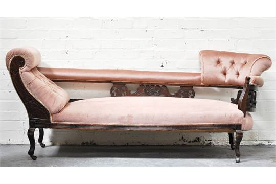 Victorian mahogany double-ended chaise longue, with salmon coloured on chaise sofa sleeper, chaise furniture, chaise recliner chair,