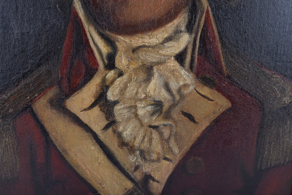 Lot 322 - Oil on Canvas Portrait Painting of a Georgian Officer