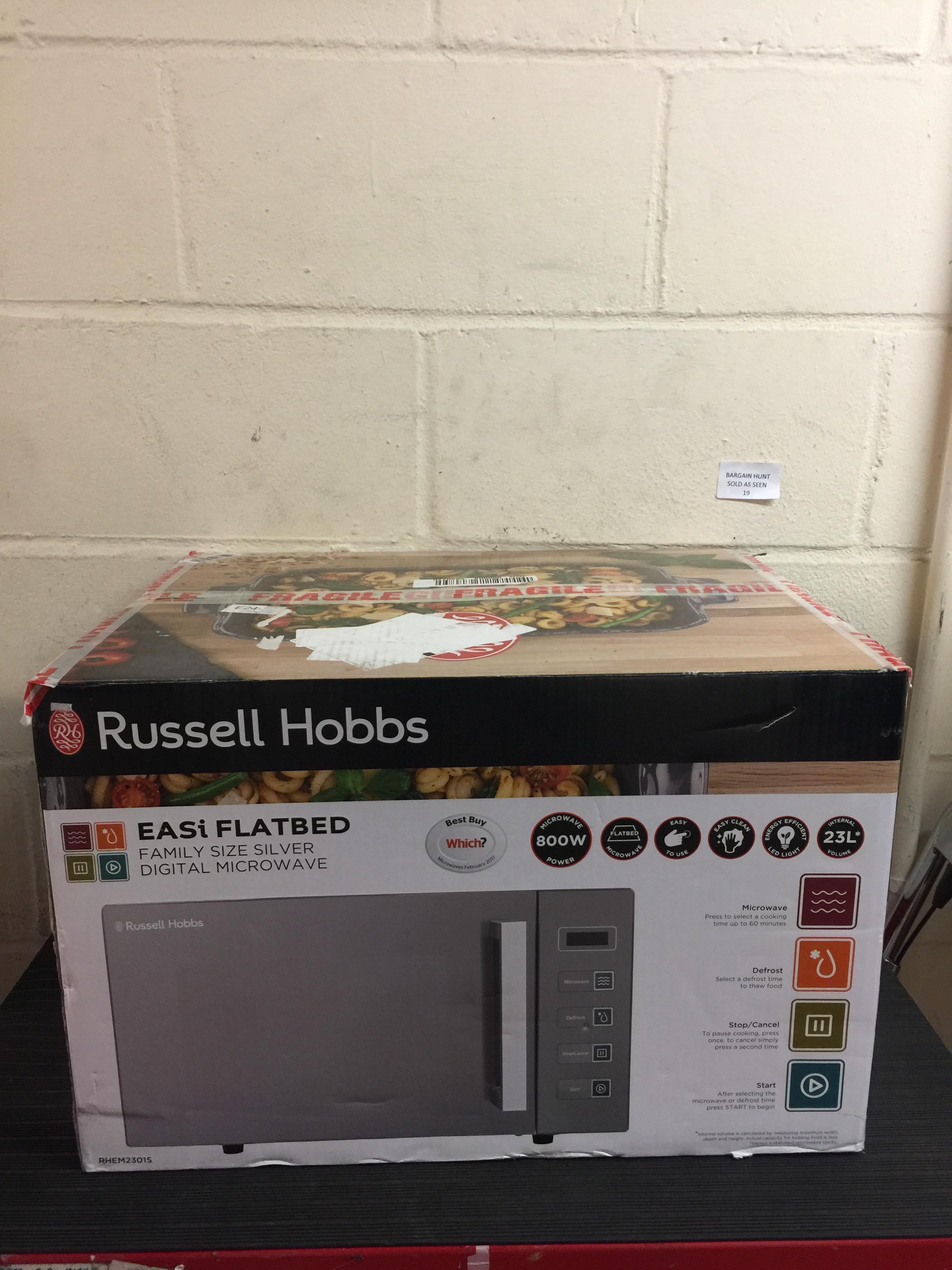 Lot 19 - Russell Hobbs Microwaves RHEM2301S 800 Watt Microwave Free Standing Silver RRP £95.99